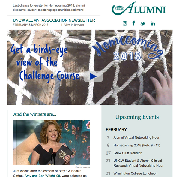 Snapshot of recent alumni newsletter