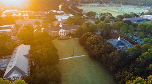 Aerial view of UNCW campus - links to campus map