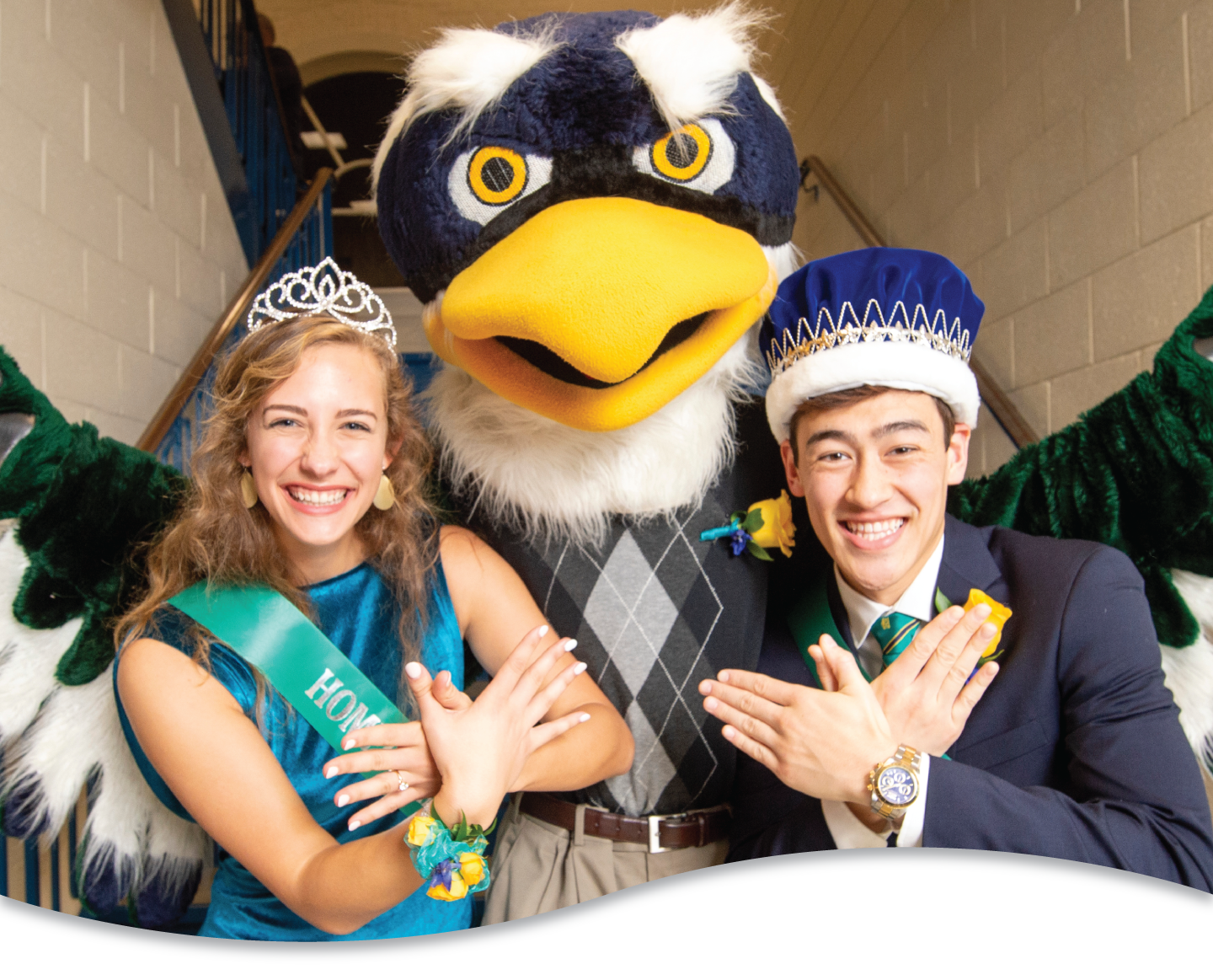 2019 Homecoming King and Queen with Sammy C. Hawk