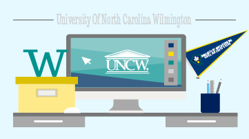 UNCW-themed desk space